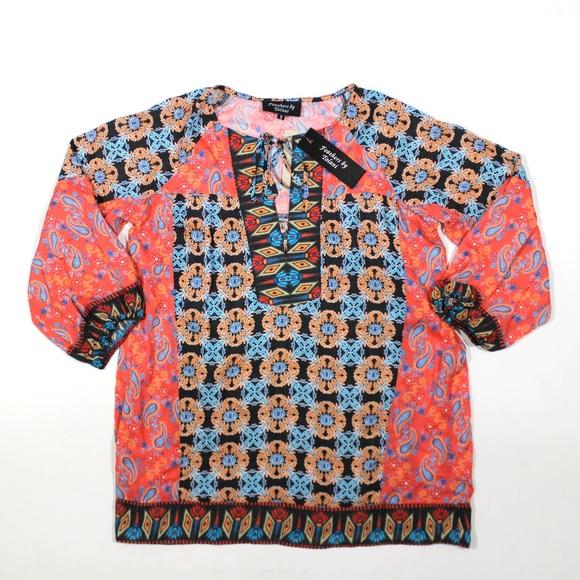4f442e000f134 Feathers Tolani Modal V Neck Tie Soft Blouse Print